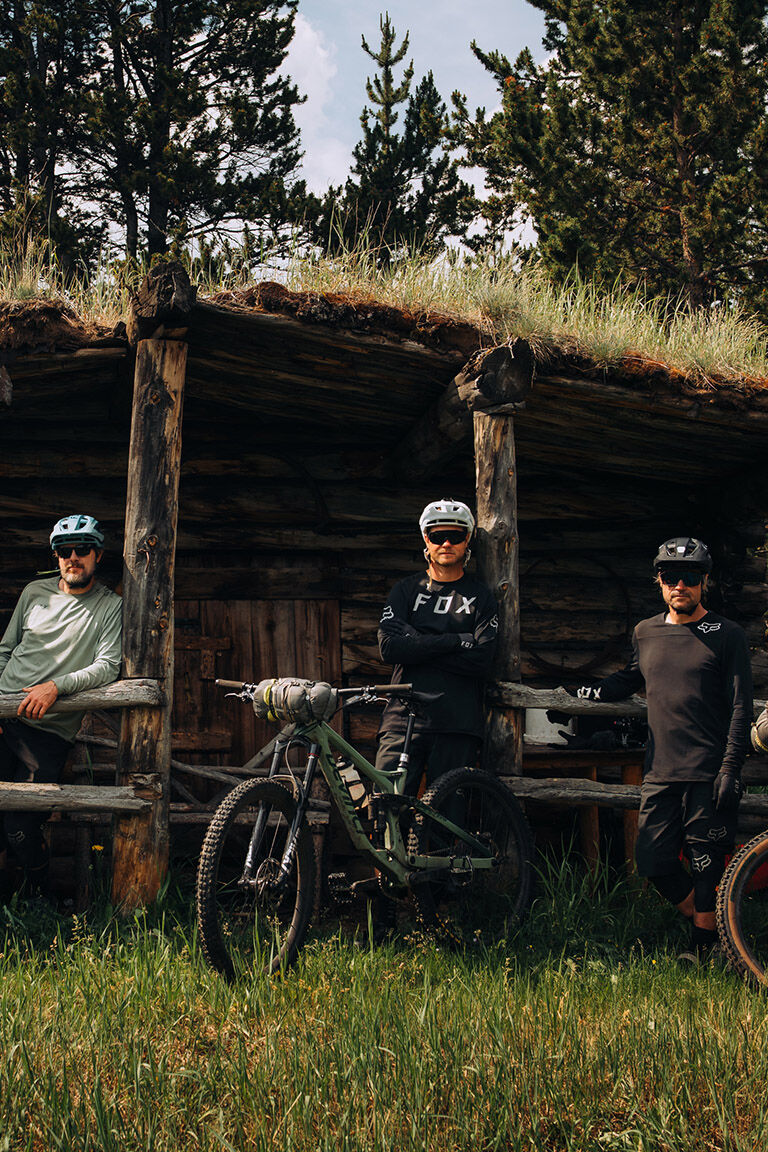 Group hanging out in the country in the new fall MTB Jerseys